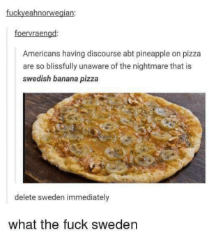 Sweden and pizza: fuckyeahnorwegian:  foervraengd:  Americans having discourse abt pineapple on pizza  are so blissfully unaware of the nightmare that is  swedish banana pizza  delete sweden immediately  what the fuck sweden Sweden and pizza
