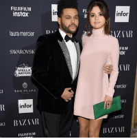 Memes, The Weeknd, and Pink: FUJIFILM  instax  FU  infor  laura mercier  ZTAR  SWAROVSK  FILM  ax  STELLA  ARTOIS  TTIIE P.AZA  nercier  infor  SKI  KI BATA  mercier  KI  BIZTIR  FUJIFILM Pretty in pink 😍 Selena & The Weeknd hit the ICONS event at nyfw See more at @toofabnews tmz selenagomez theweeknd