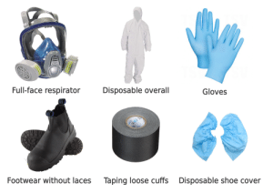 Asbestos removal technician starterpack: Full-face respirator  Disposable overall  Gloves  PRO  Footwear without laces  Taping loose cuffs  Disposable shoe cover Asbestos removal technician starterpack