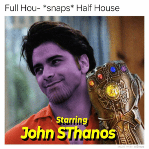 Have mercy 😩👌💦: Full Hou- *snaps* Half House  Starring  John SThanos  MADE WITH MOMUS Have mercy 😩👌💦