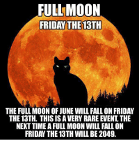 Yikes!: FULL MOON  FRIDAY THE 13TH  THE FULL MOON OF JUNE WILL FALL ON FRIDAY  THE 13TH. THIS IS A VERY RARE EVENT, THE  NEKT TIME A FULL MOON WILL FALL ON  FRIDAY THE 13TH WILL BE 2049. Yikes!