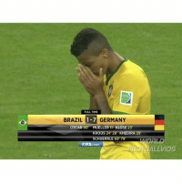 Fifa, Memes, and Oscars: FULL TIME  BRAZIL 1-7 GERMANY  OSCAR 90 MUELLER 11 KLOSE 23  RO  24 26 KHEDIRA 29  HUERR  69 79  FIFA.com  LLVIDS One of the most heartbreaking matches ever... 😢 - Follow us for more vids ✅