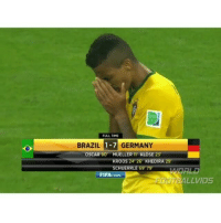 Fifa, Memes, and Oscars: FULL TIME  BRAZIL  1-7 GERMANY  OSCAR 90 MUELLER KLOSE 23  ROOS 24 26 KHEDIRA 29  SCHUERRLE 69 79'  FIFA  com  LLVIDS One of the most heartbreaking matches ever... 😢 🎥 @worldfootballvids