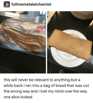Lost, Mind, and Never: fullmemetalalchemist  this will never be relevant to anything but a  while back i ran into a bag of bread that was cut  the wrong way and i lost my mind over the way  one slice looked Thanks I hate horizontal bread