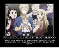 <3 ~Red: FULLMETAL ALCHEMIST BROTHERHOOD  The only anime series that can make me laugh until it hurts, cry until I  can't, and show a wide range of emotions. All within the span of one  episode. <3 ~Red