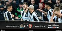 Memes, 🤖, and Bet: FULLTIME  NEWCASTLE UNITED  4-0  UNITED  pump  M Wonga  SPORTSDIRECT.coM  f newcastleunited  @NUFC  NUFCCOUK FULL TIME Newcastle United 4-0 Rotherham United  A dominant second-half performance sees the Magpies return to the top of the Sky Bet Championship, with Ayoze Perez and Matt Ritchie (2) adding to Daryl Murphy's first-half strike.  Reaction to come at www.nufc.co.uk. #NUFC