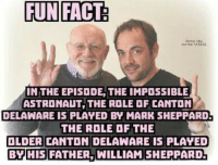 astronaut: FUN FACT  and TARnis  THE EPISODE, THE IMPOSSIBLE  ASTRONAUT THE ROLE DF CANTON  DELAWARE IS PLAYED BY MARK SHEPPARDL  THE ROLE OF THE  OLDER CANTON DELAWARE IS PLAYED  BY  FATHER, WILLIAM SHEPPARD