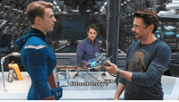 """America, Food, and Memes: FUN FACT: During filming for """"The Avengers"""", Robert Downey Jr. hid snack food on set, and would casually take it out and eat it during takes. The crew couldn't always find the hidden food, so they just decided to go with it, letting RDJ snack in character during several scenes.  This led to the scenes in the lab where Tony Stark offers both Captain America and Bruce Banner a blueberry during conversations about S.H.I.E.L.D. – an offer that was completely unscripted. He just happened to be snacking at the time, and everyone played along.  (Reilly Johnson)"""