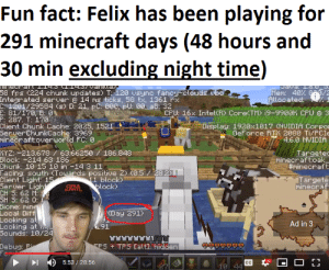 Minecraft, Cache, and Fancy: Fun fact: Felix has been playing for  291 minecraft days (48 hours and  30 min excluding night time)  JAVA .. J  Mem: 40% 8/2  Allocated:  58 fps (224 chunk updates) T 120 vsync fancy elouds. vbo  Integrated server e14 ms ticks, 58 tx, 1361 rx  C 1201/29584 (s) D: 21, pC: 000, pU: 00, aB 32  E: 81/170, B:0  P: 287. T: 170  Client Chunk Cache: 2025, 1521  Server ChunkCache: 3969  minecraft:overuorld FC: 0  CPU: 16x Intel(R CoreTM) 19-9900K CPU e 3  Display: 1920x1017 (NVIDIA Corpo  Geforce RT 2080 Ti/PCIe  4.6.0 NVIDIA  186.848  AYZ: 213.678 63.66250  Block: -214 63 186  Chunk: 10 15 10 in -14 3 11  Facing: south (Touards positive 2) (0.5 / 28.2)  Client Light: 15  Server Light  CH 5: 62 M  SH S: 62 0:  Biome: ming  Local Diff  Looking at  Looking at  Sounds: 10/24  Targetec  minecraftoak  #minecraft  11 block)  block  Targete  minecraf  СУКА  (Day 291)  Ad in 3  TE7  Debug: Pi  For  ES TFS [alt hidden  5:53/28:56  Нг  cC  18 44 And he has done so much