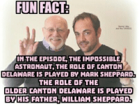 astronaut: FUN FACT  HT TARDis  NTHE EPISODE, THE IMPOSSIBLE  ASTRONAUT THE ROLE DF CANTON  DELAWARE IS PLAYED BY MARK SHEPPARD!  THE ROLE OF THE  OLDER CANTON DELAWARE IS PLAYED  BY  HIS FATHER. WILLIAM SHEPPARD-