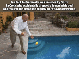 """Funny, Pool, and Water: Fun Fact: La Croix water was invented by Pierre  La Croix, who accidentally dropped a lemon in his pool  and realized the water had slightly more flavor afterwards. """"Slightly"""" being a key word."""