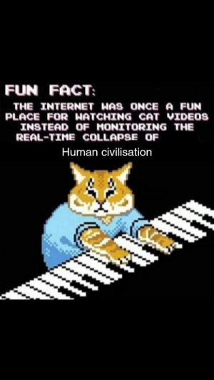 Internet, Videos, and Time: FUN FACT  THE INTERNET WAS ONCE A FUN  PLACE FOR ผATCHING CAT VIDEOS  INSTEAD OF MONITORING THEE  REAL-TIME COLLAPSE OF  Human Civilisation