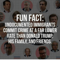 Crime, Donald Trump, and Family: FUN FACT  UNDOCUMENTED IMMIGRANTS  COMMIT CRIME AT A FAR LOWER  RATE THAN DONALD TRUMP,  HIS FAMILY, AND FRIENDS.