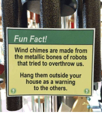Bones House And Fun Fact Wind Chimes Are Made Fromm The Metallic Of Robots That Tried To Overthrow Us Hang Them Outside Your As A