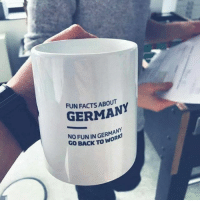 9gag, Memes, and Germany: FUN FACTS ABOUT  GERMANY  NO FUN IN GERMANY  GO BACK TO WO  R True story. Follow @9gag @9gagmobile 9gag german mug