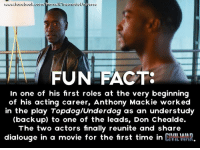 Facts, Finals, and Memes: FUN FACTS  In one of his first roles at the very beginning  of his acting career, Anthony Mackie worked  in the play Topdog/Underdog as an understudy  (backup) to one of the leads, Don Chealde.  The two actors finally reunite and share  dialouge in a movie for the first time in  CMLMAR. A long-awaited reunion.  (Brian)