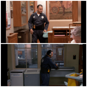 """In Parks and Recreation (2009-2015), this Janitor listens to the song """"Man! I feel like a woman!"""" in both Season 3 episode 16 and Season 7 episode 4. This is a reference to the fact that the women should be doing the cleaning while the men do proper work.: FUN  OLY  Cdetal F Shd In Parks and Recreation (2009-2015), this Janitor listens to the song """"Man! I feel like a woman!"""" in both Season 3 episode 16 and Season 7 episode 4. This is a reference to the fact that the women should be doing the cleaning while the men do proper work."""
