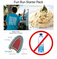 Memes, Run, and Baltimore: Fun Run Starter Pack  theofficeshow  Michael Scotr's  punder Mittlin  Palmer Memorial  Celebriy Rabies  gettyimages  Fun RunRace  For The ture  Rabies Virus  Baltimore Group V (ssRNA)  Matris proten  Rne polymerase  Helical  Gycoproten spkes 😂😂