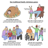 Christmas, Family, and Games: fun traditional family christmas games  it is a heavy one lj*>  this year papa  whos inside the turkev  a family member hides inside the turkey  and everyone else has to guess who is inside  guess the weight of dads leg  how heavy is papas leg this year  tell me  if he  wakes  careful  vou dont  get eat  callum  mouth stretch  compete with your family to see who can  stretch their mouth as wide as possible  the winner is the person whos lips rip last  pin the nose on grandad  pin a ham nose on grandad before  he wakes up and eats you