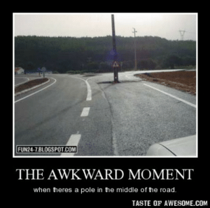 The awkward momenthttp://omg-humor.tumblr.com: FUN24-7.BLOGSPOT.COM  THE AWKWARD MOMENT  when theres a pole in the middle of the road.  TASTE OF AWESOME.COM The awkward momenthttp://omg-humor.tumblr.com