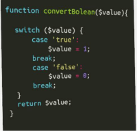 True, Break, and True Value: function convertBolean($value)(  switch ($value)  case 'true  $value 1;  break;  case 'false  $value 0;  break;  return $value; So code gore is a thing? This is what a remote freelancer built.