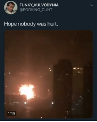 Funny, Cunt, and Hope: FUNKY_VULVODYNIA  @FOOKING CUNT  Hope nobody was hurt.  1:19 Ariana said she got next @larnite • ➫➫➫ Follow @Staggering for more funny posts daily!