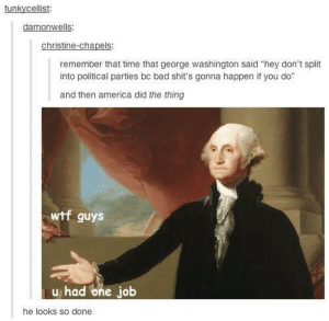 "America, Bad, and Wtf: funkycellist:  damonwells  christine-chapels:  remember that time that george washington said ""hey don't split  into political parties bc bad shit's gonna happen if you do""  and then america did the thing  wtf guys  u had one job  he looks so done One Job"