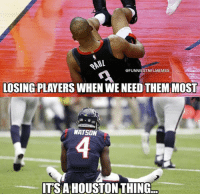 Nfl, Houston, and Tsa: @FUNNIESTNELMEMES  LOSING PLAYERS WHEN WE NEED THEM MOST  WATSON  TSA HOUSTON THING 🤦‍♂️🤦‍♂️🤦‍♂️