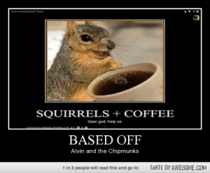 Based Offhttp://omg-humor.tumblr.com: Funny Animats Doing Spid Thngs 6  SQUIRRELS + COFFEE  Dear god, help us.  1OAHAECHERUROEROOH BY  BASED OFF  Alvin and the Chipmunks  1 in 3 people will read this and go to  TASTE OF AWESOME.COM Based Offhttp://omg-humor.tumblr.com