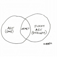 Consider the code cracked [forgive me father for I have drawn yet more shitty and unoriginal venn diagrams]: FUNNY  ART MEME s  ART  OO Consider the code cracked [forgive me father for I have drawn yet more shitty and unoriginal venn diagrams]