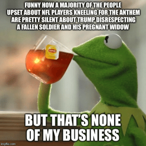 Advice, Funny, and Nfl: FUNNY HOW A MAJORITY OF THE PEOPLE  UPSET ABOUT NFL PLAYERS KNEELING FOR THE ANTHEM  ARE PRETTY SILENT ABOUT TRUMP DISRESPECTING  A FALLEN SOLDIER AND HIS PREGNANT WIDOW  BUT THAT'S NONE  OF MY BUSINESS  imgflip.com advice-animal:  Pretty odd don't ya think (sarcasm)