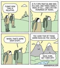 Time Is Relative comic webcomic warandpeas relativity comicstrip mountains friends humor funny cartoon lol comedy wanderlust yonkoma 4panelcomic time: FUNNY HOW  TIME IS  RELATIVE.  WHOA, THAT'S SOME  DEEP STUFF.  A FLY ZIPS PAST US AND DIES  IN A DAY. AND TREES HARDLY  MOVE AT ALL...AND LIVE FOR  HUNDREDS OF YEARS.  YOU HAVE TWO OF THOSE  WEIRD BUGS ON YOU AGAIN.  EWW, KARL  GET THEM OFF!  WARANDPEAS.COM Time Is Relative comic webcomic warandpeas relativity comicstrip mountains friends humor funny cartoon lol comedy wanderlust yonkoma 4panelcomic time