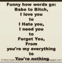 Bitch, Crazy, and Facts: Funny how words go:  Babe to Bitch,  I love you  I Hate you,  I need you  to  Forget You,  From  you're my everything  e Share Inspire  You're nothing.  logspot.com/ quoteking quotes quote quotesandsayings word words wordplay wordsofwisdom wisewords haters hatersgonnahate realtalk realshit reality crazy insane insanity wordpower niggasbelike bitchesbelike truth truthbetold truthhurts fact facts