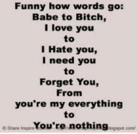 Memes, I Love You, and Babes: Funny how words go:  Babe to Bitch,  I love you  to  I Hate you,  I need you  Forget You,  From  you're my everything  to  oShare Inspire  nothing  ogspot oomy  You're
