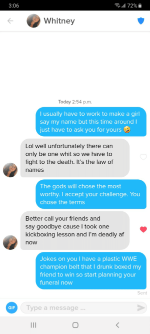Funny interaction I had. Hope she sees this just so she knows to be afraid.: Funny interaction I had. Hope she sees this just so she knows to be afraid.