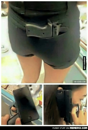 I bet no one dares to steal her phone with that gun shaped case!omg-humor.tumblr.com: FUNNY STUFF ON MEMEPIX.COM  MEMEPIX.COM I bet no one dares to steal her phone with that gun shaped case!omg-humor.tumblr.com