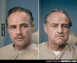 Marlon-Brando before and after getting his make up done to be Don Vito Corleone in The Godfatheromg-humor.tumblr.com: FUNNY STUFF ON MEMEPIX.COM  MEMEPIX.COM Marlon-Brando before and after getting his make up done to be Don Vito Corleone in The Godfatheromg-humor.tumblr.com