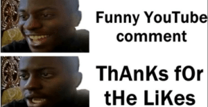 Smh, Imaging thanking someone for likes.: Funny YouTube  comment  ThAnKs for  tHe LiKes Smh, Imaging thanking someone for likes.