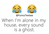 Being Alone, Memes, and Ghost: @FunnyTextsss  When I'm alone in my  nouse, every sound  is a ghost