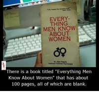 """Memes, Blank, and 🤖: """"Funy reveals tha shocking burn  EVERY  THING  MEN KNOW  ABOUT  WOMEN  De Alan Francis  America's Foremost Psychologist  There is a book titled """"Everything Men  Know About Women"""" that has about  100 pages, all of which are blank."""