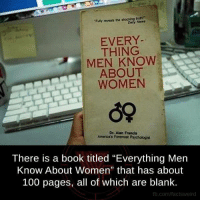 """Memes, Blank, and 🤖: """"Funy reveals the  EVERY  THING  MEN KNOW  ABOUT  WOMEN  Dr. Aan Francis  Americas For omost Psychologist  There is a book titled """"Everything Men  Know About Women"""" that has about  100 pages, all of which are blank.  fb.com/factsweird"""