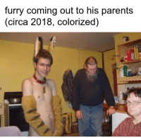 Colorized: furry coming out to his parents  (circa 2018, colorized)