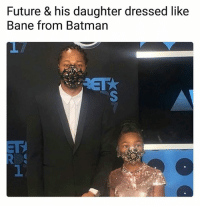 Bane, Batman, and Future: Future & his daughter dressed like  Bane from Batman  1  1 Mask off... Fuck it... Mask on... 😂😂 • ➫➫ Follow @savagememesss for more posts daily