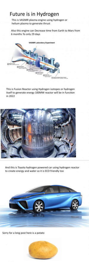 My post please dont steal+: Future is in Hydrogen  This is VASIMR plasma engine using hydrogen or  helium plasma to generate thrust  Also this engine can Decrease time from Earth to Mars from  6 months To only 29 days  This is Fusion Reactor using Hydrogen isotopes or hydrogen  itself to generate energy 100MW reactor will be in function  in 2022  And this is Toyota hydrogen powered car using hydrogen reactor  to create energy and water so it is ECO friendly too  Sorry for a long post here is a potato My post please dont steal+