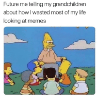 Future, Life, and Memes: Future me telling my grandchildren  about how l wasted most of my life  looking at memes NO RAGRETS 👵