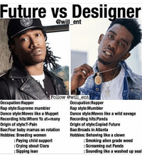 I like Super Future but this is funny AF 💀💀💀💀💀💀💀 mumbleraplegends 💯💯: Future vs Designer  @wil ent  Follow @will ent  Occupation: Rapper  Occupation: Rapper  Rap style:Mumbler  Rap style:Supreme mumbler  Dance style: Moves like a Muppet  Dance style:Moves like a wild savage  Recording hits:Where Ya at+many  Recording hits:Panda  origin of style:copied Future  Origin of style: T-Pain  Bae:Four baby mamas on rotation  Bae: Broads in Atlanta  Hobbies: Breeding women  Hobbies: Behaving like a clown  Smoking alien grade weed  Paying child support  Screaming out Panda  Crying about Ciara  Sipping lean  Sounding like a washed up seal I like Super Future but this is funny AF 💀💀💀💀💀💀💀 mumbleraplegends 💯💯