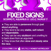 Aquarius, Scorpio, and Taurus: FXEDSIGNS  SCORPIO AQUARIUS  LEO TAURUS  They are able to persevere through just  about anything.  They tend to be very stable, self-reliant  and dependable.  They can be very stubborn and unwilling to  to back down from an argument.  They know that often slow and steady wins  the race.  ZODIACFIRE.COM  BRUTALLY HONESTASTROLOGY #TAURUS ♉