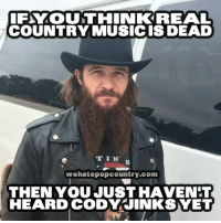 Memes, Music, and Country Music: FYOUTHINK REAL  COUNTRY MUSIC IS DEAD  T 1 N'  wehatepopcountry.com  THEN YOU JUST HAVENT  HEARD CODY JINKSYET What's your favorite honky tonk tune from the great Cody Jinks?