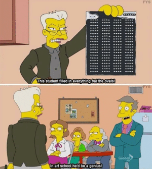 School, Genius, and Wholesome: FYS  This student filled in everything but the ovals  Giobal  In art school he'd be a genius! Skinner can be wholesome