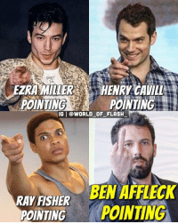 Don't mess with Batman 👊🏼👊🏼 via @world_of_flash_: FZRA MILER  HENRY CAVILL  POINTING  POINTING  IGI WORLD OF FLASH  BEN AFFLECK  RAY FISHER  POINTING  POINTING Don't mess with Batman 👊🏼👊🏼 via @world_of_flash_